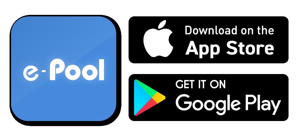 E-pool, App Store, Google Play icons